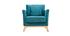 Fauteuil scandinave déhoussable velours bleu pétrole OSLO