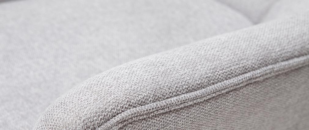 Fauteuil scandinave effet velours texturé gris clair et bois BRODY