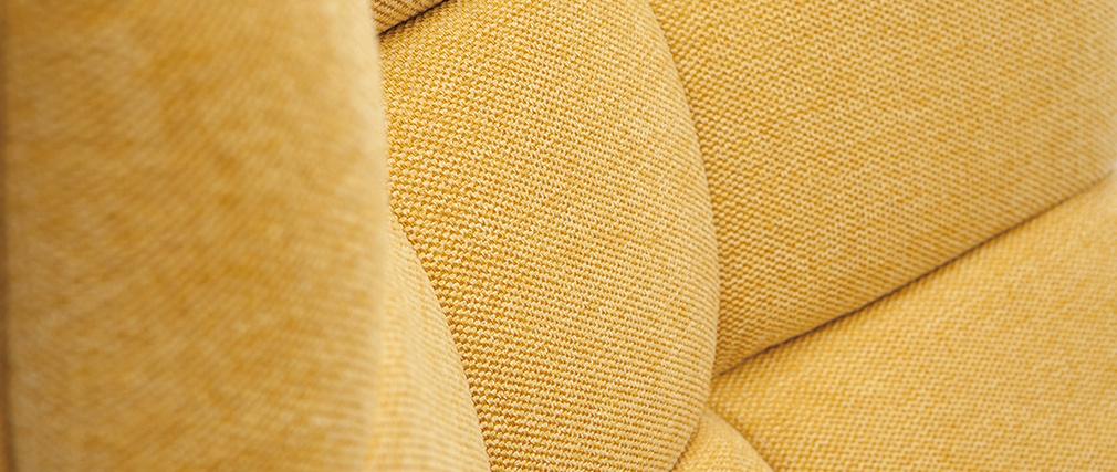 Fauteuil scandinave effet velours texturé moutarde et bois BRODY