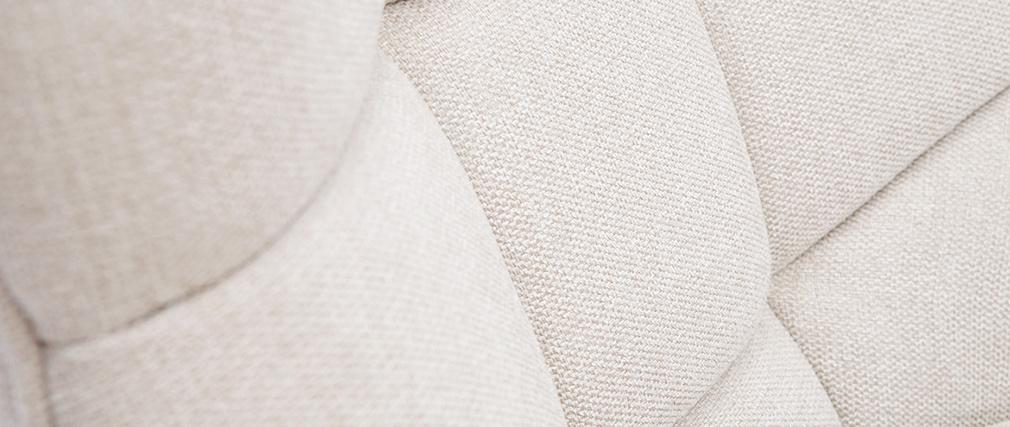 Fauteuil scandinave effet velours texturé naturel et bois BRODY
