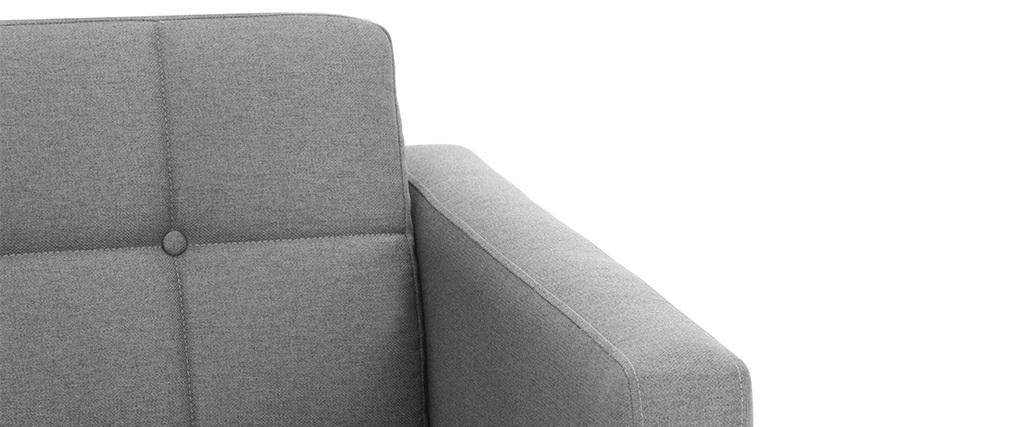 Fauteuil scandinave en tissu gris clair et bois ELFE