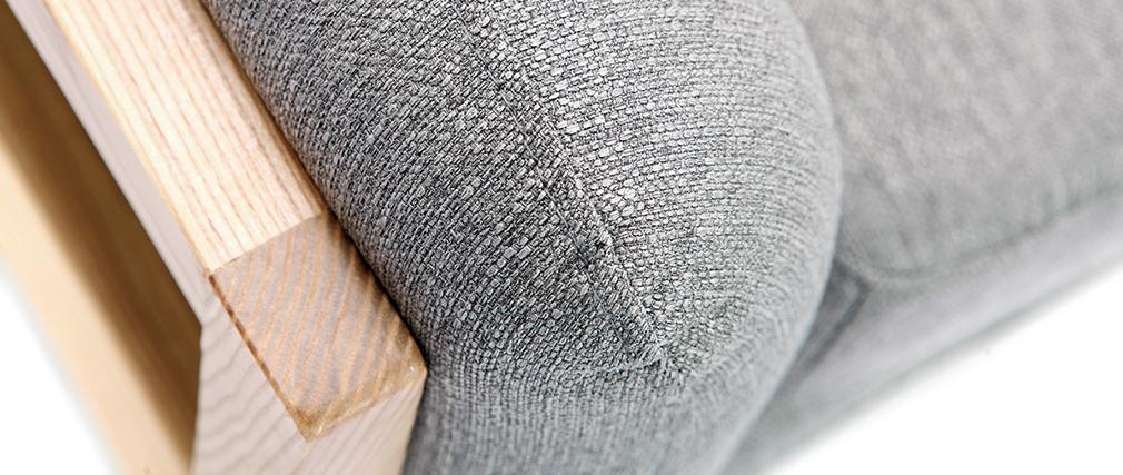 Fauteuil scandinave en tissu gris et bois YOKO