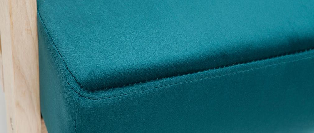 Fauteuil scandinave en velours bleu pétrole et bois clair ABYSS