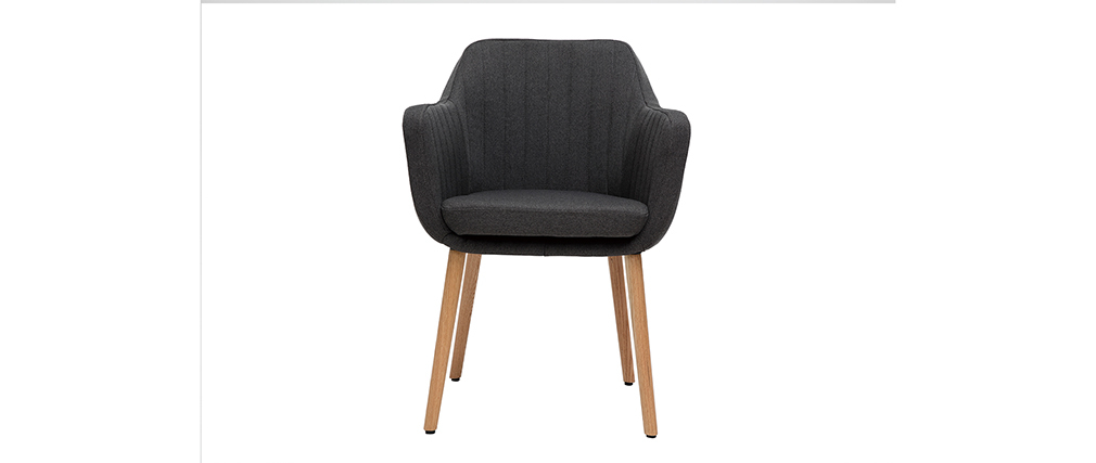 Fauteuil scandinave gris anthracite et pieds chêne ALEYNA