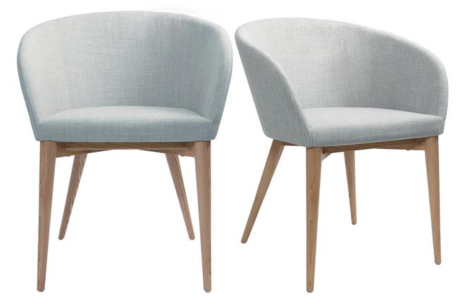 fauteuil scandinave gris clair lot de 2 dalia miliboo - Fauteuil De Table Scandinave