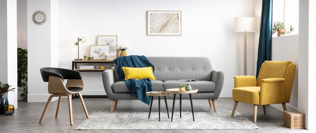 Fauteuil scandinave gris clair et bois AEOLA