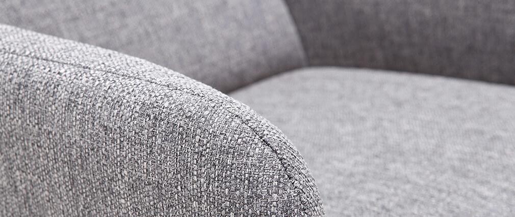 Fauteuil scandinave gris clair et bois ISKO