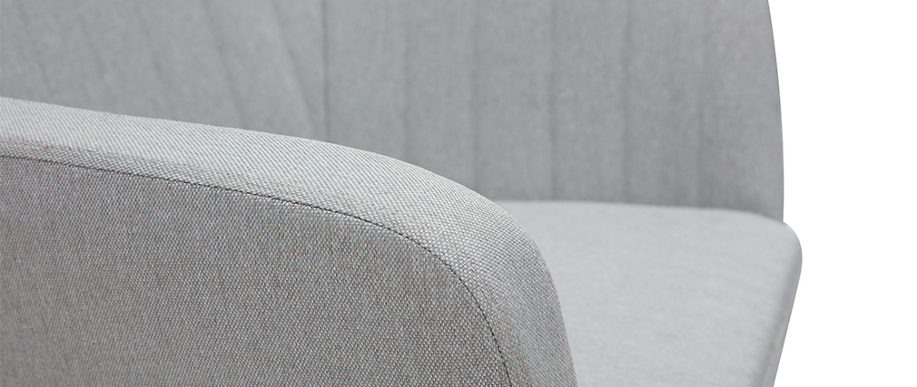 Fauteuil scandinave gris clair et pieds chêne ALEYNA
