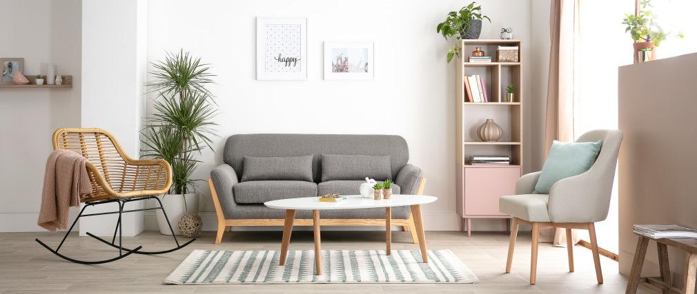 Fauteuil scandinave gris et bois clair MONA