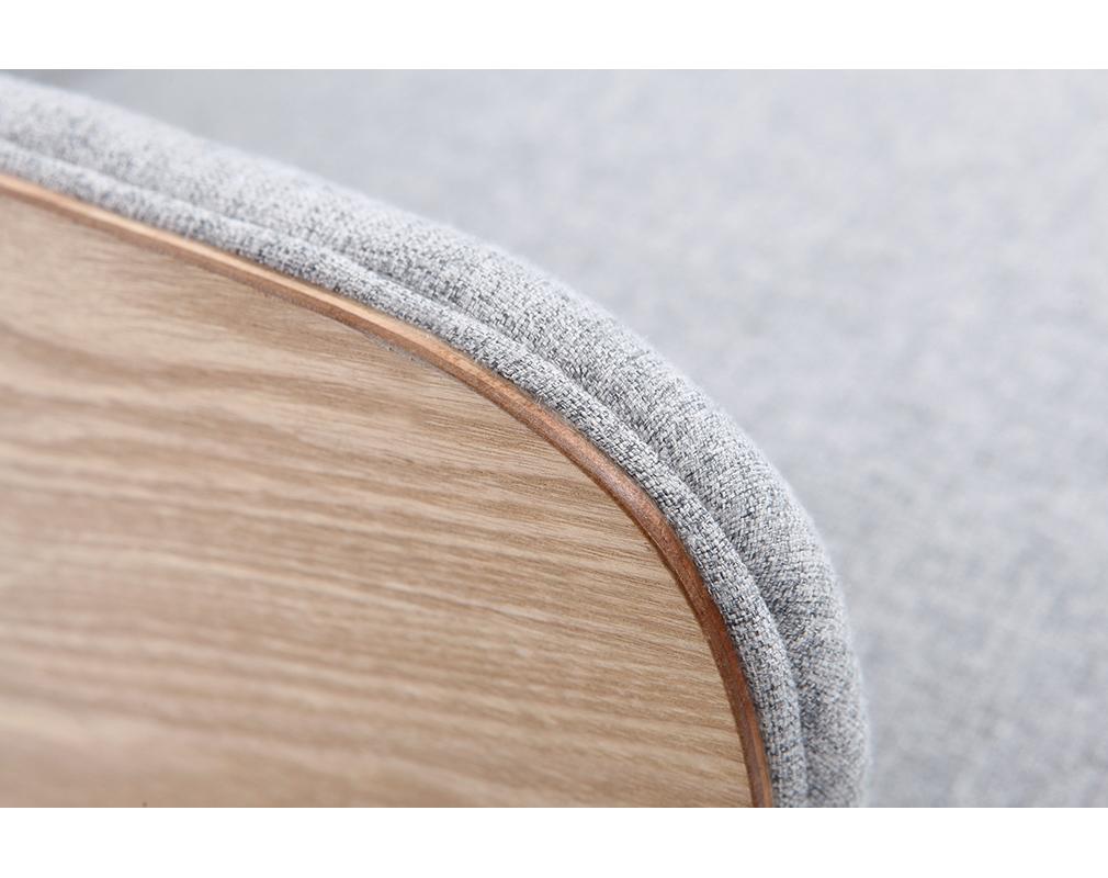 Fauteuil scandinave gris perle pieds bois VALMY Miliboo