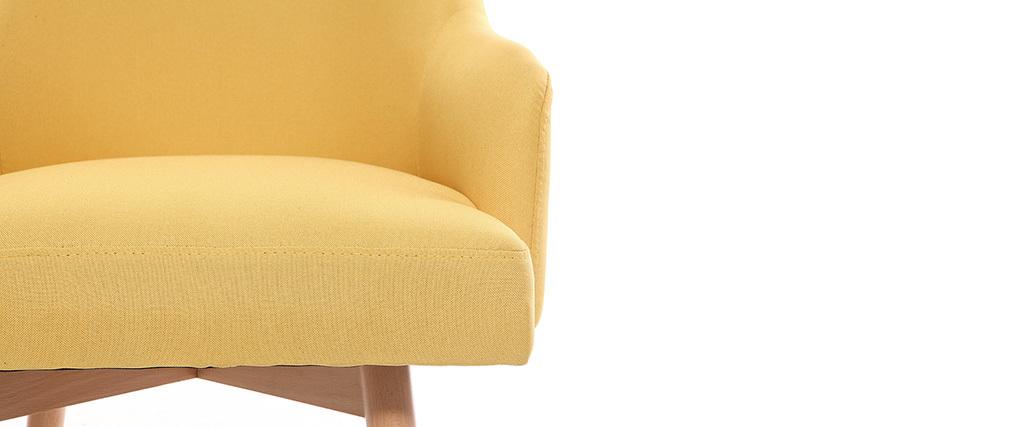 Fauteuil scandinave jaune et bois clair MONA