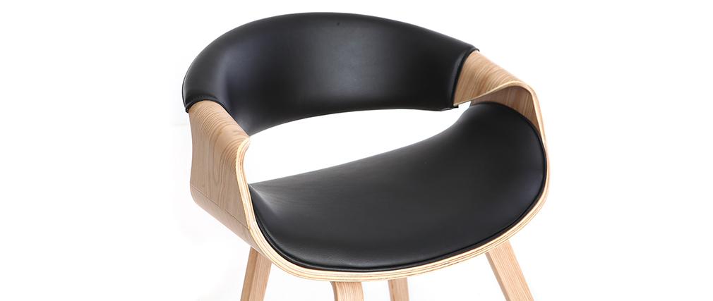 Fauteuil scandinave noir et bois clair ARAMIS