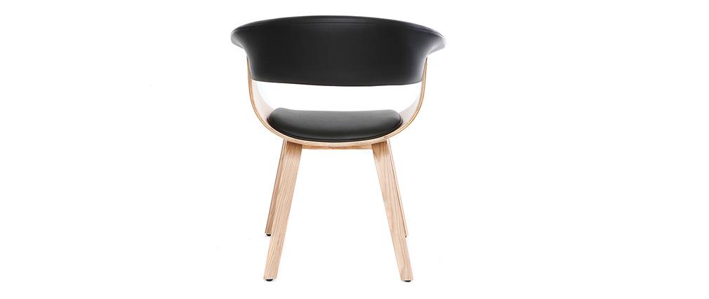 Fauteuil scandinave noir et bois clair OKTAV