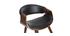 Fauteuil scandinave noir et bois foncé ARAMIS