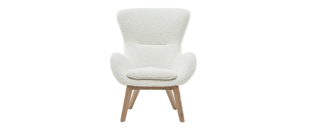 Fauteuil scandinave tissu blanc effet laine bouclée et bois ESKUA