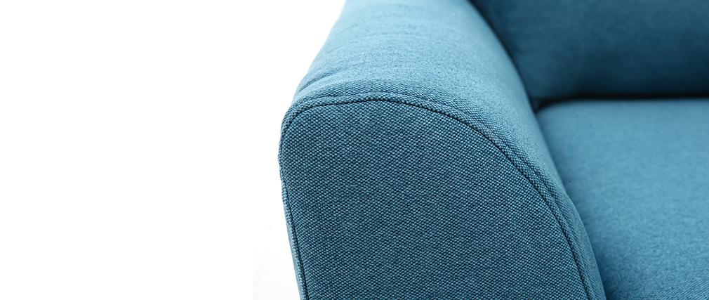 Fauteuil scandinave tissu bleu canard ALICE