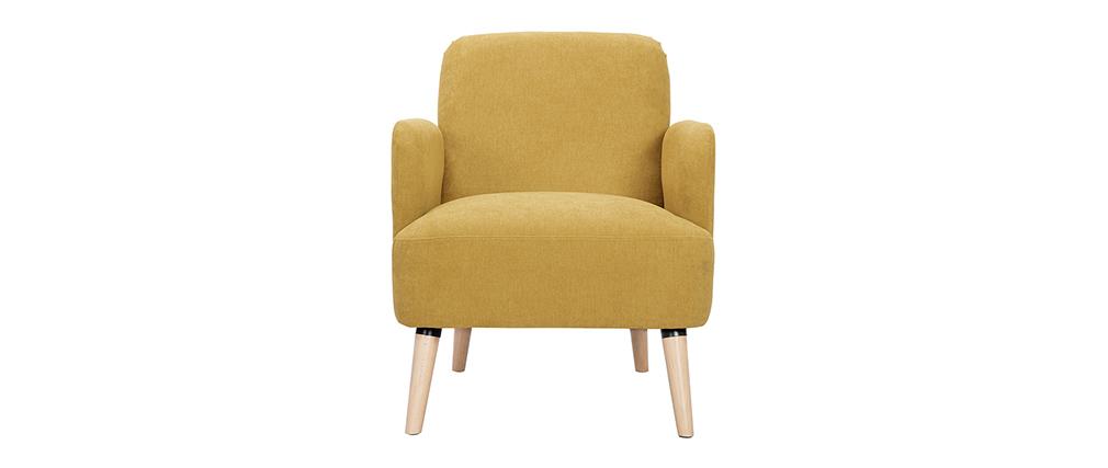 Fauteuil scandinave tissu effet velours jaune moutarde et bois ISKO - Miliboo & Stéphane Plaza