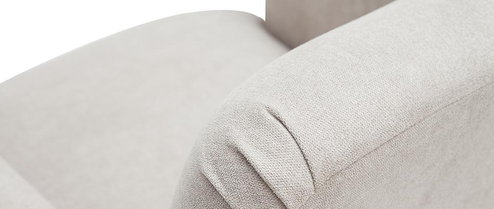 Fauteuil scandinave tissu effet velours naturel et bois ISKO