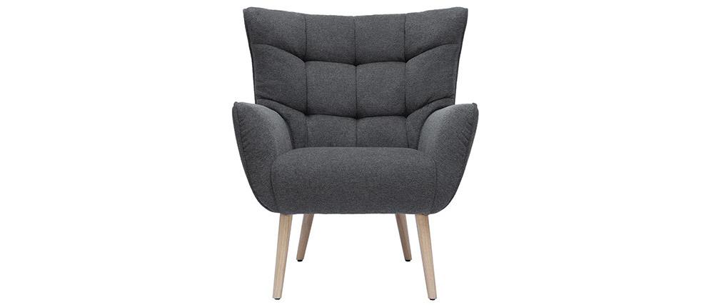 Fauteuil scandinave tissu effet velours texturé gris foncé AVERY