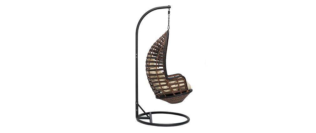 Fauteuil suspendu intérieur/extérieur effet rotin et métal LOMBOCK