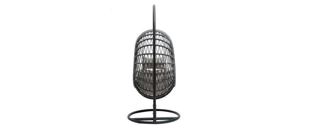 Fauteuil suspendu intérieur/extérieur en corde grise et métal BAIA