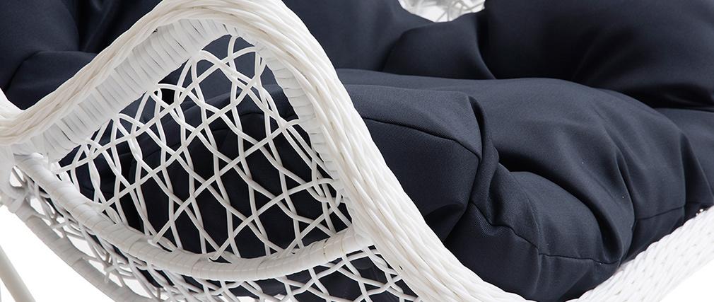 Fauteuil suspendu métal blanc et tissu bleu foncé BALI