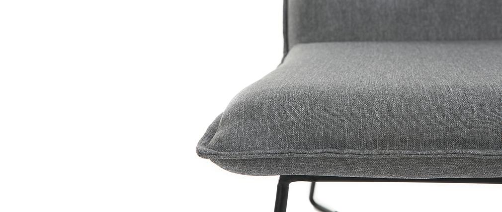 Fauteuil tissu gris foncé et structure métal noir PILO