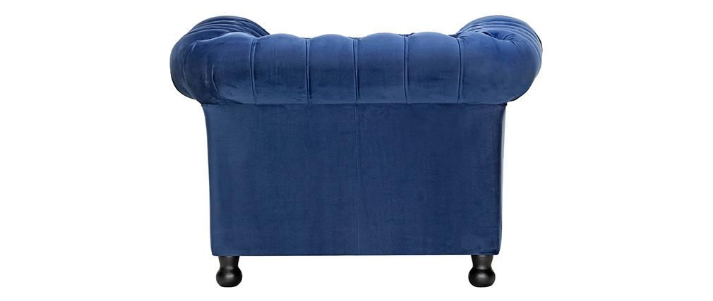 Fauteuil velours bleu foncé CHESTERFIELD