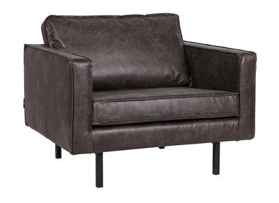 Fauteuil vintage cuir noir ASPEN
