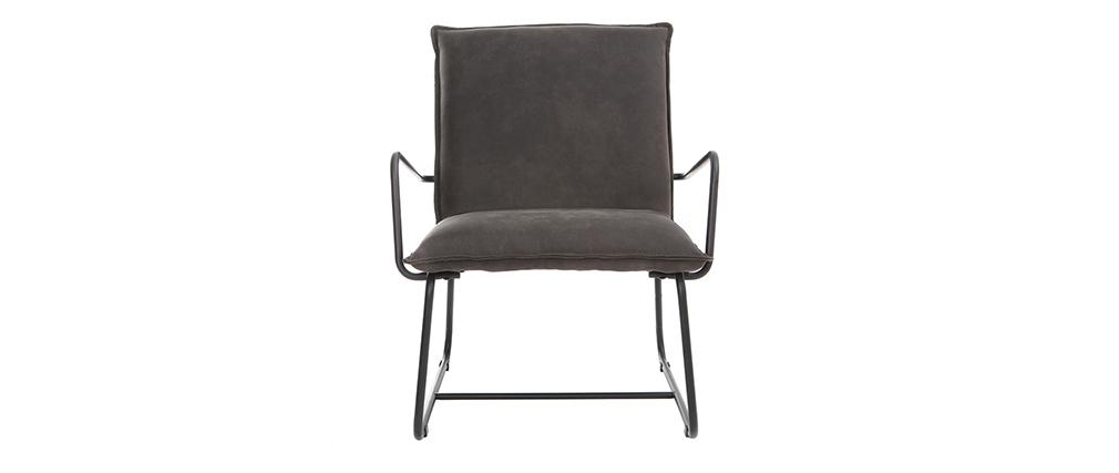 Fauteuil vintage gris anthracite et structure métal noir MERCY
