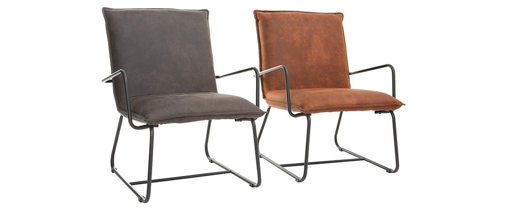 Fauteuil vintage marron avec structure en métal noir MERCY