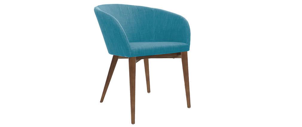 Fauteuils design bleu et bois foncé (lot de 2) DALIA