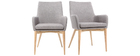 Fauteuils design en bois clair et tissu gris (lot de 2) SHANA