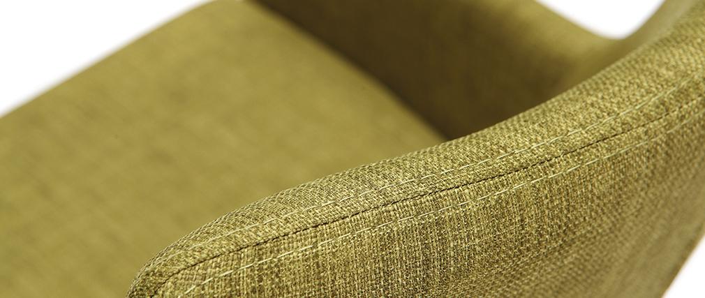 Fauteuils design en bois et tissu vert (lot de 2) SHANA