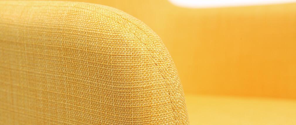Fauteuils design en bois et tissus jaune (lot de 2) SHANA