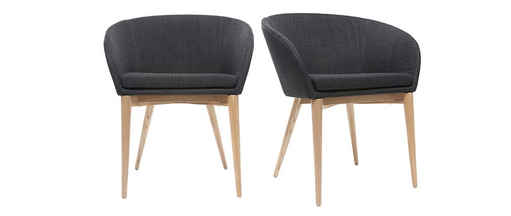 Fauteuils design gris anthracite et bois clair (lot de 2) DALIA