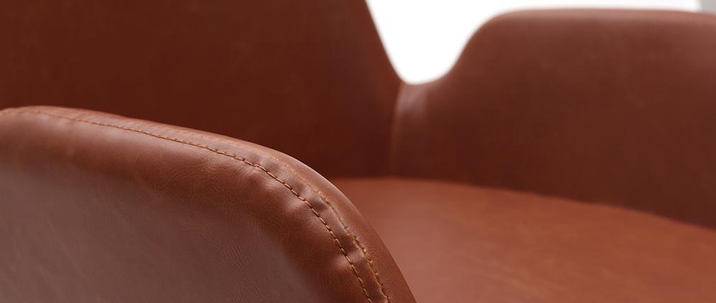 Fauteuils vintage marron clair avec pieds métal noirs (lot de 2) TIKA