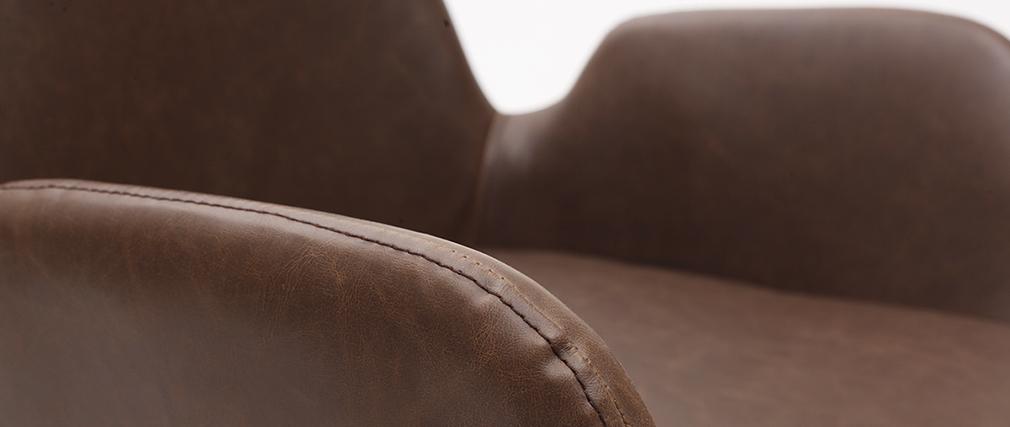 Fauteuils vintage marron foncé avec pieds métal noirs (lot de 2) TIKA