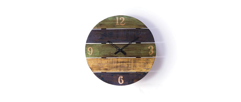 Horloge design bois recycl mayotte miliboo for Horloge design bois