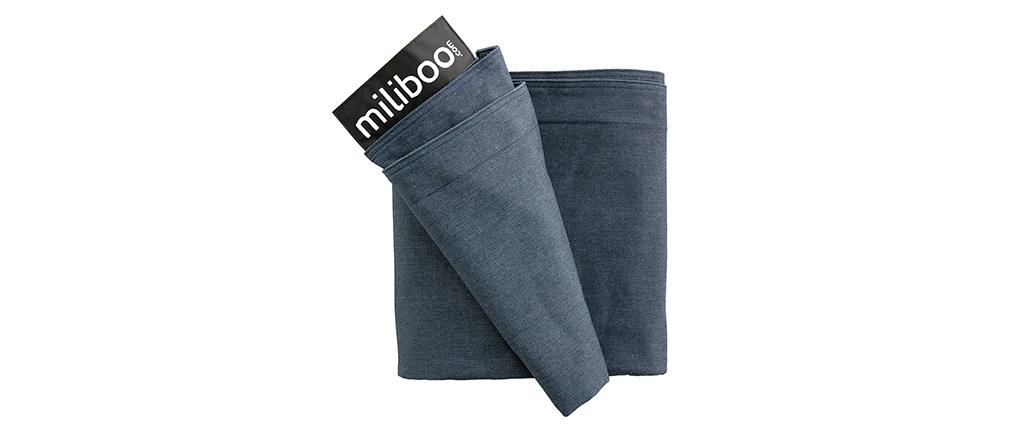 Housse de pouf géant en coton bleu jean BIG MILIBAG