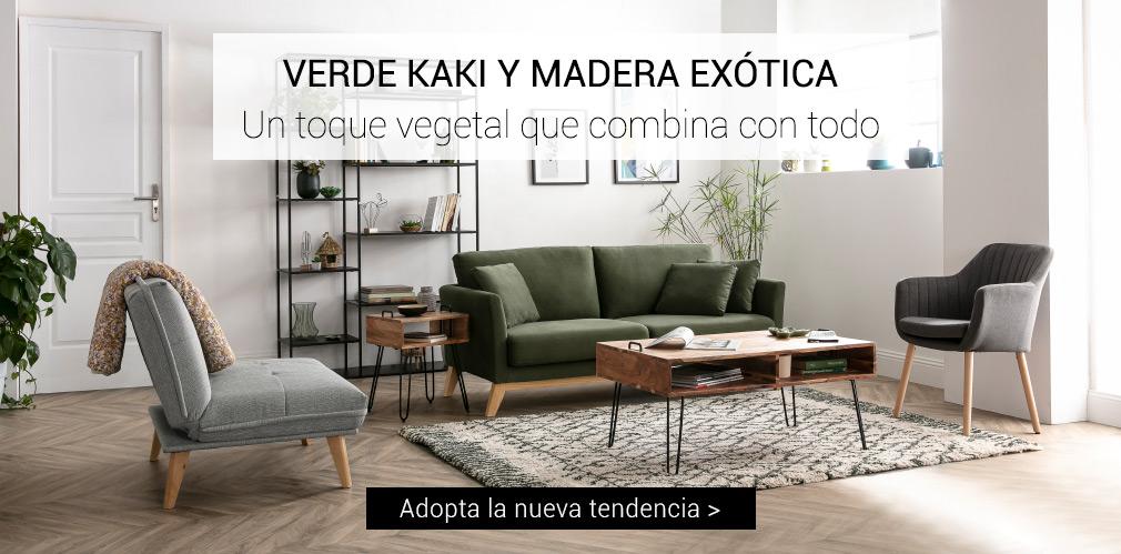 VERDE KAKI Y MADERA EXÓTICA