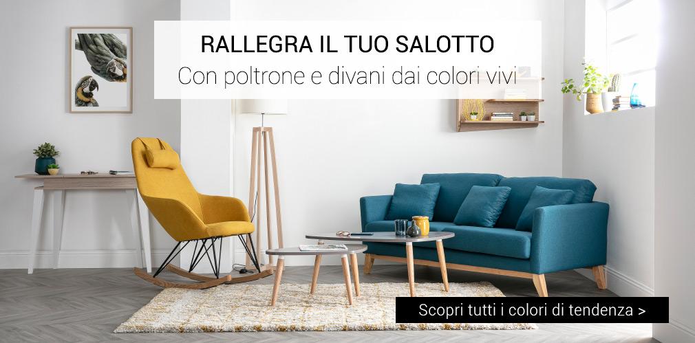 Con poltrone e divani dai colori vivi