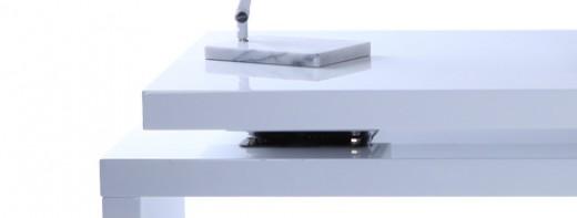 Bureau Design Bois Amovible Max : Glossy Orange Modern Desk