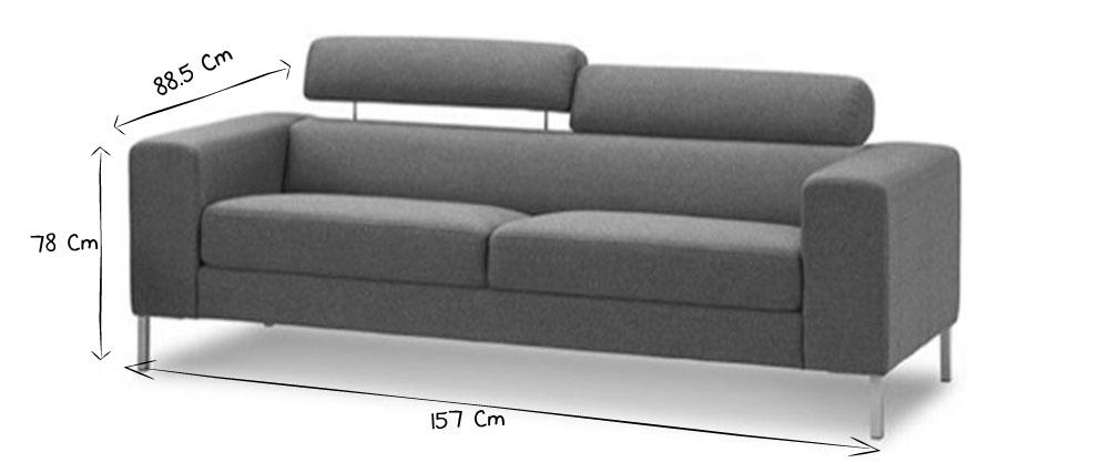 Canap design 2 places gris barbade miliboo - Produit pour nettoyer tissu canape ...