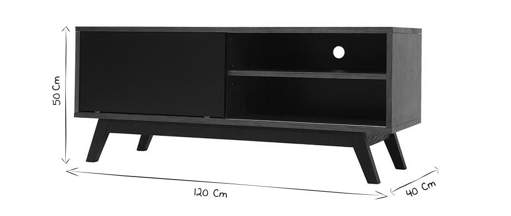 Meuble TV design noyer et noir mat NORMA  Miliboo -> Meuble Tv Norma