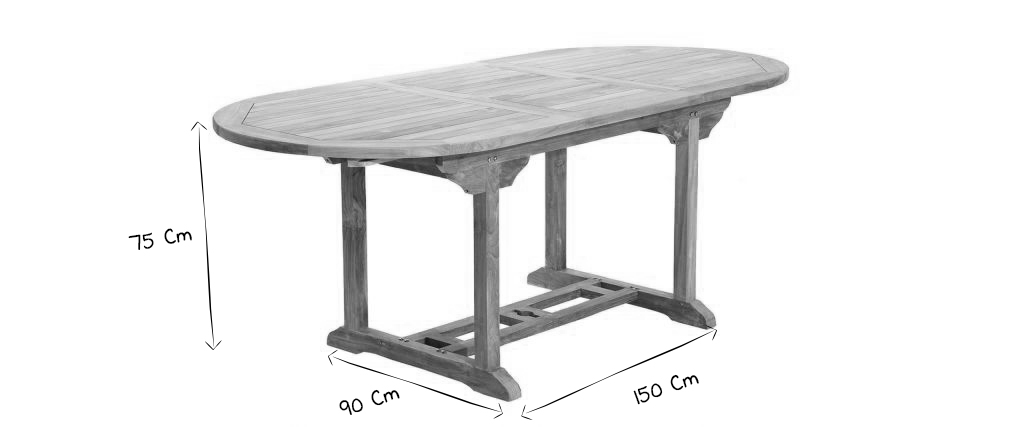 Table de jardin en teck extensible 150/200cm SANTALUZ - Miliboo