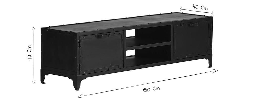 Meuble Tv Design Metal Noir 150cm Factory Miliboo