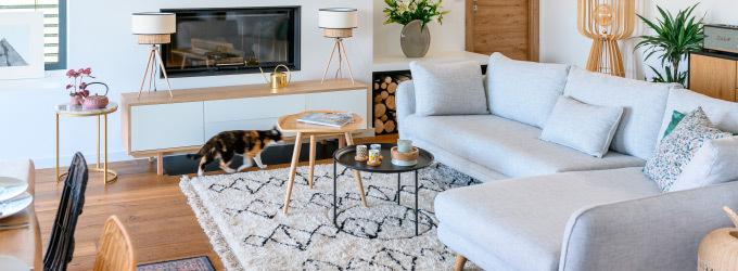 Canape d angle en tissu style scandinave ou contemporain