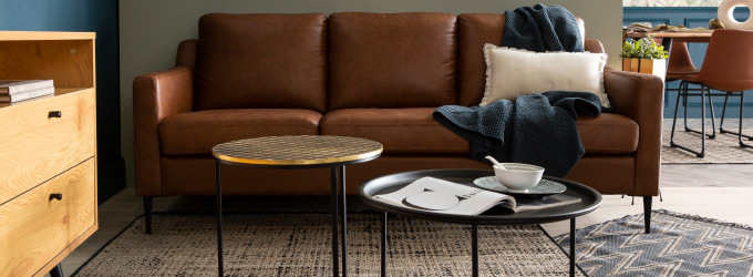 Canape en cuir style contemporain ou vintage