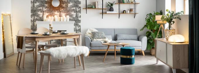 Canape scandinave avec pieds bois